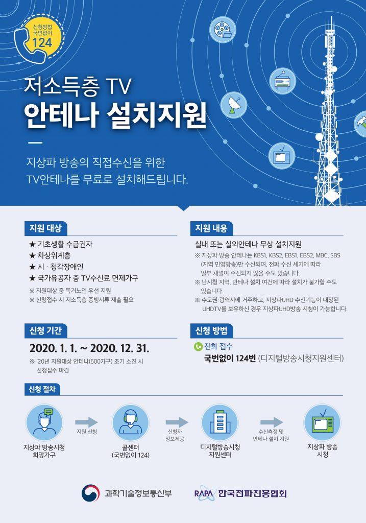 저소득층 TV 안테나 설치지원 안내문('20년)